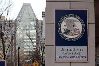 FILE - This Feb. 25, 2011 file photo shows Tthe U.S. Patent and Trademark Office in Alexandria, Va. (AP Photo/Alex Brandon)