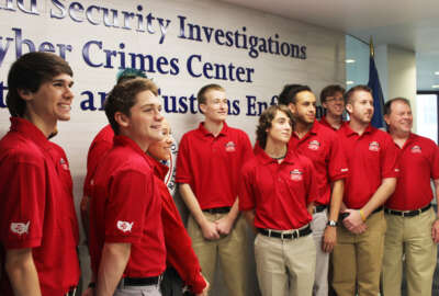 The Homeland Security Investigation's Cyber Crimes Center, part of the Homeland Security Department, hosted the University of Central Florida Knights, the winners of the National Collegiate Cyber Defense Competition.