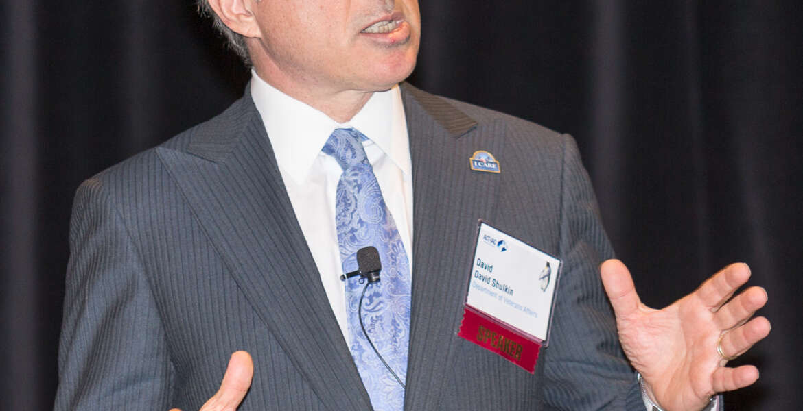 David Shulkin was sworn in as the Veterans Affairs Under Secretary for Health in July 2015. In this photo, he explains his top priorities for the nation's largest health care system at a forum sponsored by ACT-IAC.