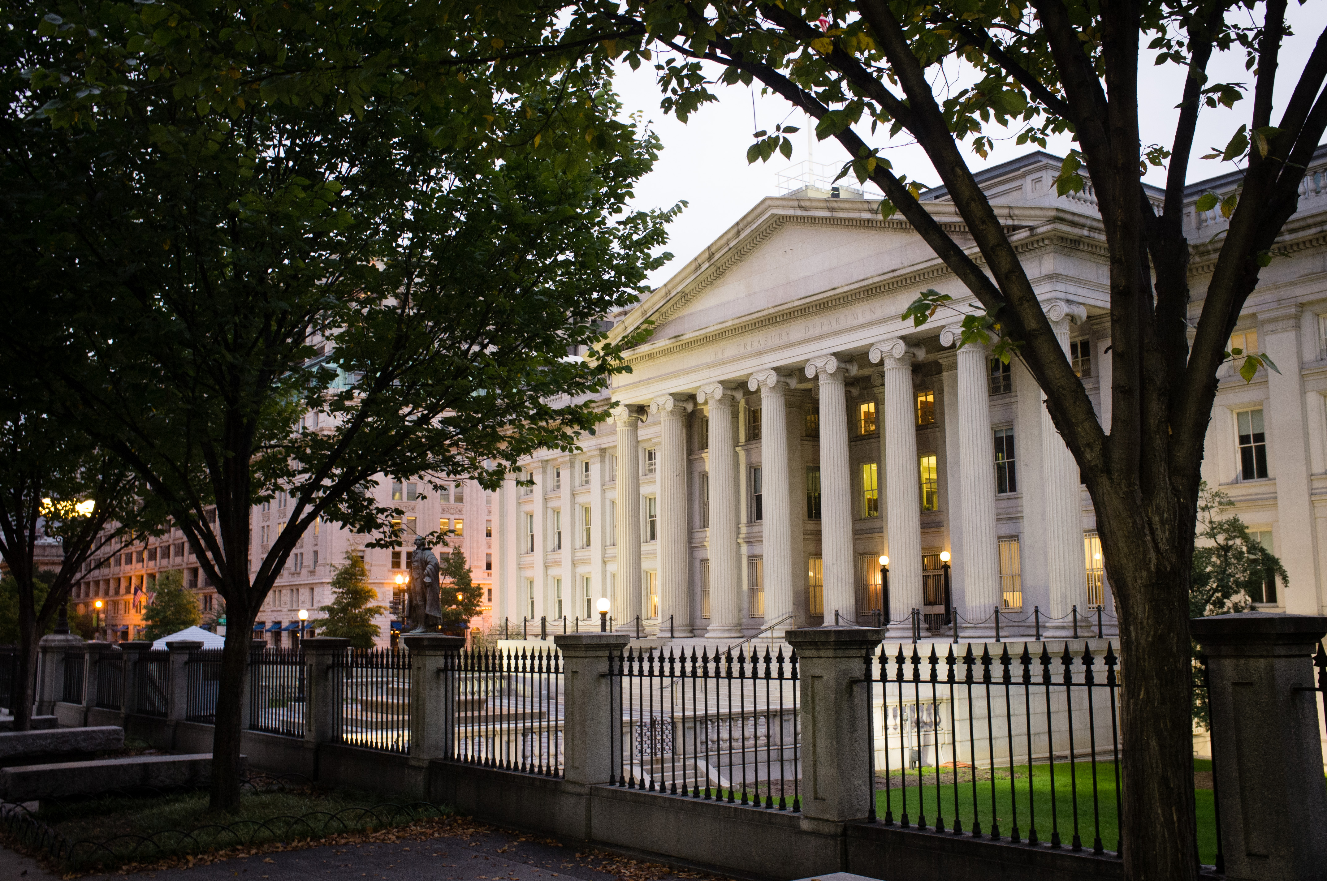 FILE - In this Wednesday, Oct. 16, 2013, file photo, the U.S. Treasury Building stands in Washington. On Tuesday, Feb. 16, 2016, the Treasury Department reports on foreign holdings of U.S. debt for December 2015. (AP Photo/J. David Ake, File)