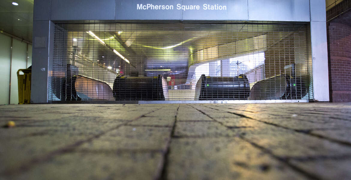 Gates are closed at the McPherson Square Metrorail Station in Washington, Wednesday, March 16, 2016. The Metrorail system that serves the nation's capital and its Virginia and Maryland suburbs shut down for a full-day for an emergency safety inspection of its third-rail power cables. Making for unusual commute, as the lack of service is forcing some people on the roads, while others are staying home or teleworking. (AP Photo/Pablo Martinez Monsivais)