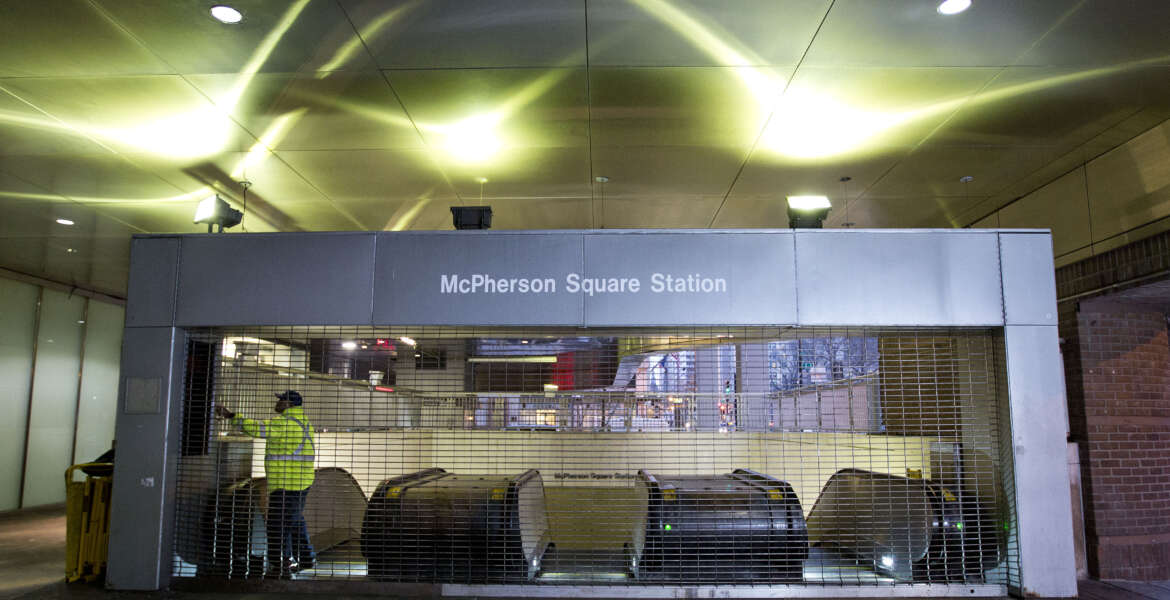 Metro employee shuts down escalators to the McPherson Square Station in Washington, Wednesday, March 16, 2016. The Metro subway system that serves the nation's capital and its Virginia and Maryland suburbs shut down for a full-day fo an emergency safety inspection of its third-rail power cables. Making for unusual commute, as the lack of service is forcing some people on the roads, while others are staying home or teleworking. (AP Photo/Pablo Martinez Monsivais)