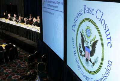 Defense Base Closure and Realignment Commission, casts vote during final deliberations, Arlington, Virginia, photo