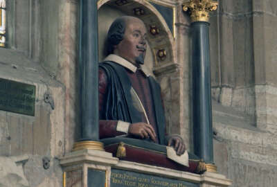 This April 12, 2016 photos shows a bust of William Shakespeare which sits above the famous British playwright's grave at Holy Trinity Church in Stratford-upon-Avon, England. 400 years after his death, Shakespeare's fame continues to take Stratford-upon-Avon to new heights.   (AP Photo/James Brooks)
