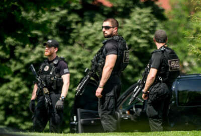 Secret Service agents stands on the North Lawn of the White House in Washington, Friday, May 20, 2016, after the White House was placed on security alert after shooting on street outside. (AP Photo/Andrew Harnik)