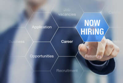 Recruiter advertising for job vacancies, searching candidates to hire for business opportunities