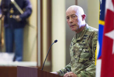 Lt. Gen. Charles Luckey, chief of the Army Reserve addresses soldiers at Fort Bragg (U.S. Army  photo by Master Sgt. Mark Bell)