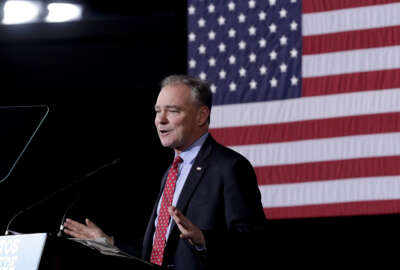 Democratic vice presidential candidate Sen. Tim Kaine, D-Va., speaks during a campaign stop, Thursday, Nov. 3, 2016, in Phoenix. (AP Photo/Matt York)