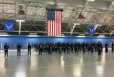 The Air Force Band and Honor Guard stands at attention during an Inauguration Day rehearsal at Joint Base Andrews in Maryland Jan. 13.