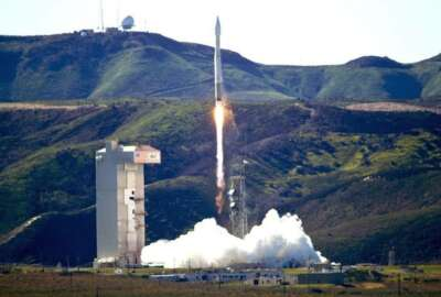 An Atlas 5 rocket carrying the NROL-79 mission is launched at the Vandenberg Air Force Base, Calif., on Wednesday, March 1, 2017. The rocket carrying a classified U.S. satellite dubbed NROL-79 is described only as a national security payload for the National Reconnaissance Office. (Matt Hartman via AP)