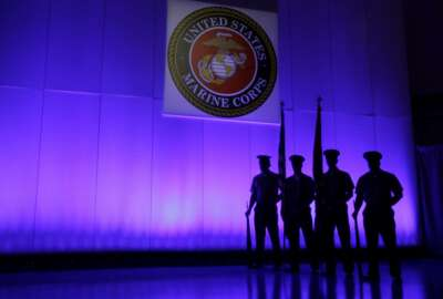FILE- In this May 5, 2014, file photo, a U.S. Marine Corps Color Guard stands under a Marine Corps emblem in Jupiter, Fla. The Defense Department is investigating reports that some Marines shared naked photographs of female Marines, veterans and other women on a secret Facebook page, some of which were taken without their knowledge. Marine Corps Commandant Gen. Robert B. Neller on Sunday, March 5, 2017, called the online activity
