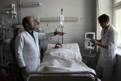 An injured soldier recovers in a hospital after Friday's attack at a military compound in Mazar-e-Sharif province north of Kabul, Afghanistan, Saturday, April 22, 2017.  Gunmen wearing army uniforms stormed a military compound in the Balkh province, killing at least eight soldiers and wounding 11 others, an Afghan government official said Friday. (AP Photo)