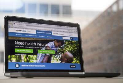 FILE - In this Feb. 9, 2017, file photo, the HealthCare.gov website, where people can buy health insurance, is displayed on a laptop screen in Washington. Something new is happening in a health care debate dominated for seven years by the twists and turns of Barack Obama's signature law. The focus has shifted to ideas from President Donald Trump and GOP lawmakers in Congress, and most people don't like what they see. With Republicans in command, their health care proposals as currently formulated have generated far more concern than enthusiasm. (AP Photo/Andrew Harnik, File)