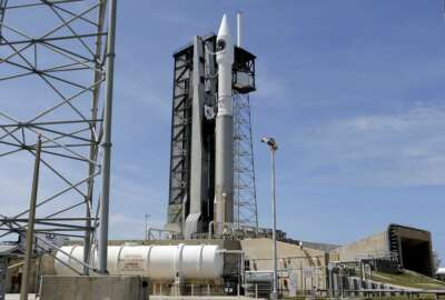 A United Launch Alliance Atlas V rocket that will carry supplies to the International Space Station stands ready at complex 41 at the Cape Canaveral Air Force Station, Monday, April 17, 2017, in Cape Canaveral, Fla. The launch is scheduled for Tuesday morning and for the first time, NASA cameras will provide live 360-degree video of the rocket heading toward space. (AP Photo/John Raoux)
