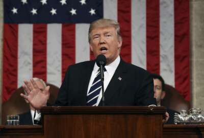 FILE - In this Feb. 28, 2017, file photo, President Donald Trump speaks on Capitol Hill in Washington, Tuesday, Feb. 28, 2017, during his address to a joint session of Congress. A president's first 100 days can be a tire-squealing roar from the starting line, a triumph of style over substance, a taste of what's to come or an ambitious plan of action that gets rudely interrupted by world events. (Jim Lo Scalzo/Pool Image via AP)