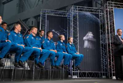 Acting NASA Administrator Robert Lightfoot recognizes the newly introduced 12 new NASA astronaut candidates, Wednesday, June 7, 2017 at NASA's Johnson Space Center in Houston
