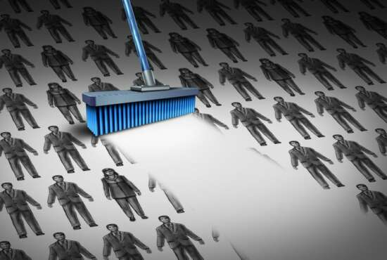 Concept of unemployment and business downsizing symbol as a group of businesswomen and businessmen drawings being swept away by a broom as a symbol for employee reduction with 3D illustration elements.