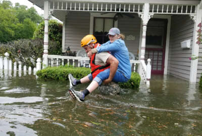 Texas National Guard soldiers conduct rescue operations in flooded areas around Houston, Texas 27 August, 2017.