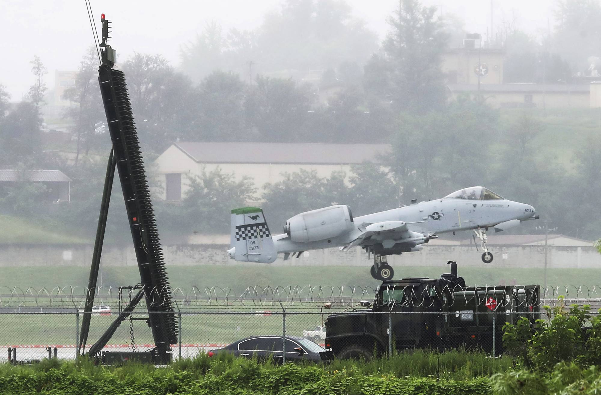 A U.S. Air Force A-10 Warthog lands on the runway at the Osan U.S. Air Base in Pyeongtaek, South Korea, Thursday, Aug. 10, 2017. North Korea on Wednesday officially dismissed President Donald Trump's threats of
