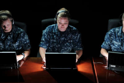 110524-N-GS507-210 PENSACOLA, Fla. (May 24, 2011) Cryptologic Technician (Collection) Seaman Recruit Ben Lowden, left, from Brownsberg, Ind., Cryptologic Technician (Networks) Seaman Apprentice Alicia Sutliff, from Jacksonville, Fla., and Cryptologic Technician (Technical) 3rd Class Steven Tometczak, from Reno, Nev., students at the Center for Information Dominance (CID) Corry Station, preview the Integrated System for Language Education and Training (ISLET). The program is being tested by the CID-based Center for Language, Regional Expertise and Culture and the Academic Consortium for Global Education.  (U.S. Navy photo by Gary Nichols/Released)