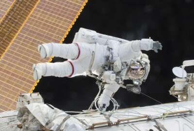 FILE - In this Dec. 21, 2015 photo provided by NASA, Expedition 46 Commander Scott Kelly participates in a spacewalk outside the International Space Station in which he and Flight Engineer Tim Kopra, not pictured, moved the station's mobile transporter rail car ahead of the docking of a Russian cargo supply spacecraft. In his new autobiography, the retired astronaut writes about his U.S. record-breaking year in space and the challenging life events that got him there. (NASA via AP)