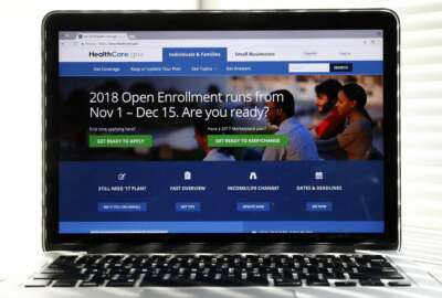 In this Oct. 18, 2017 photo, the Healthcare.gov website is seen on a computer screen in Washington. Consumers are getting the word that taxpayer-subsidized health plans are widely available for next year for no monthly premium, and marketing companies say they're starting to see an impact on sign-ups. (AP Photo/Alex Brandon)