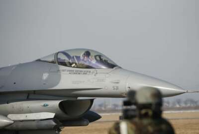 A U.S. Air Force F-16 fighter jet takes part in a joint aerial drills called Vigilant Ace between U.S and South Korea, at the Osan Air Base in Pyeongtaek, South Korea, Wednesday, Dec. 6, 2017. The five-day drill is meant to improve the allies' wartime capabilities and preparedness, South Korea's defense ministry said. (Kim Hong-Ji/Pool Photo via AP)