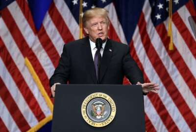 President Donald Trump speaks on national security Monday, Dec. 18, 2017, in Washington. Trump says his new national security strategy puts