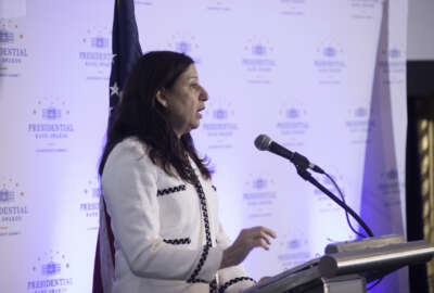 DHS Deputy Secretary Elaine Duke reminds award winners of their roles as career leaders within their agencies. Duke won her own Presidential Meritorious Award as a senior executive before initially retiring from the civil service in 2010.