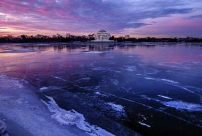 The Jefferson Memorial is reflected in the frozen surface of the Tidal Basin at daybreak in Washington, Monday, Jan 8, 2018. The Tidal Basin, famous for the Cherry Trees that surround it, is a sheet of ice after several days of bitter cold weather in the Nation's Capital. (AP Photo/J. David Ake)
