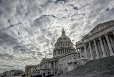 The Capitol is seen under cloudy skies on Day 2 of the federal shutdown, in Washington, Sunday, Jan. 21, 2018. (AP Photo/J. Scott Applewhite)