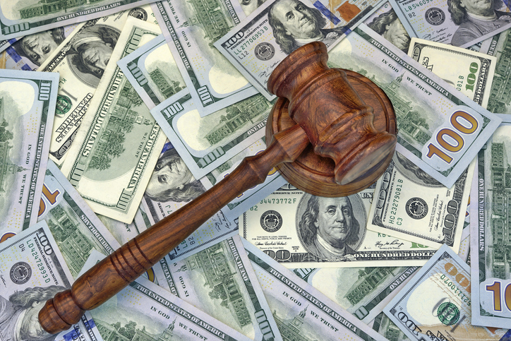 Judges Or Auctioneer Gavel On The Dollar Cash Background, Top View, Close-Up. Concept For Corruption, Bankruptcy, Bail, Crime, Bribing, Fraud, Auction Bidding,  Fines