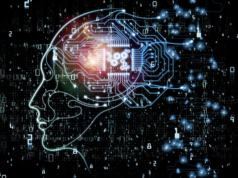 CPU Mind series. Backdrop design of human face silhouette and technology symbols for illustrations on computer science, artificial intelligence and communications