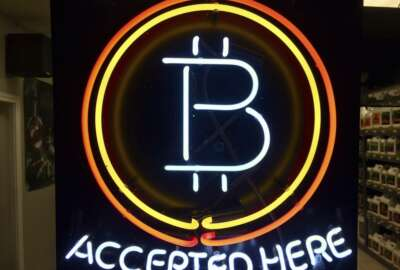 In this Feb. 7, 2018, photo, a neon sign hanging in the window of Healthy Harvest Indoor Gardening in Hillsboro, Ore., shows that the business accepts bitcoin as payment. Purchases with bitcoin and other digital currencies remain rare relative to cash and credit cards. (AP Photo/Gillian Flaccus)