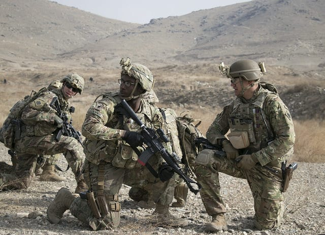 U.S. and U.K. coalition partners with Kabul Security Forces train together on an Aerial Reaction Force exercise utilizing British helicopter assets with the Toral Aviation Detachment, British Royal Air Force at Camp Qargha in Kabul, Afghanistan, January 2018, as part of their Quick Reaction Force mission in support of the NATO-led train, advise and assist mission, Operation Resolute Support. Soldiers for the exercise also included those from Alma Company, 2nd Battalion, The Yorkshire Regiment, British Army, and members of the Oklahoma Army National Guard's Charlie Troop, 1st Squadron, 180th Cavalry Regiment, 45th Infantry Brigade Combat Team.
