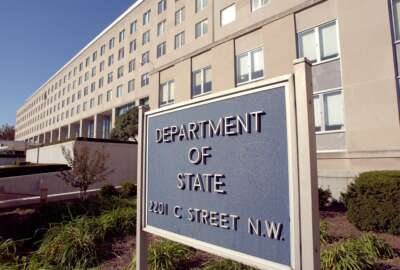 The entrance of the main offices of the United States Department of State located on C St in Washington, DC. which was recently named the Harry S. Truman Building. (Photo by Greg Mathieson/Mai/Mai/Time Life Pictures/Getty Images)