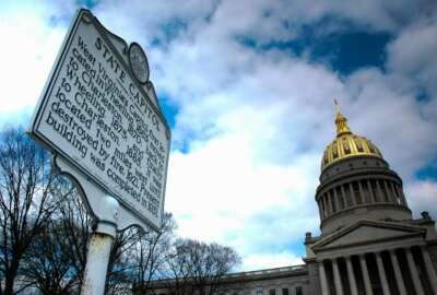 Historic marker and the West Virginia State capital.