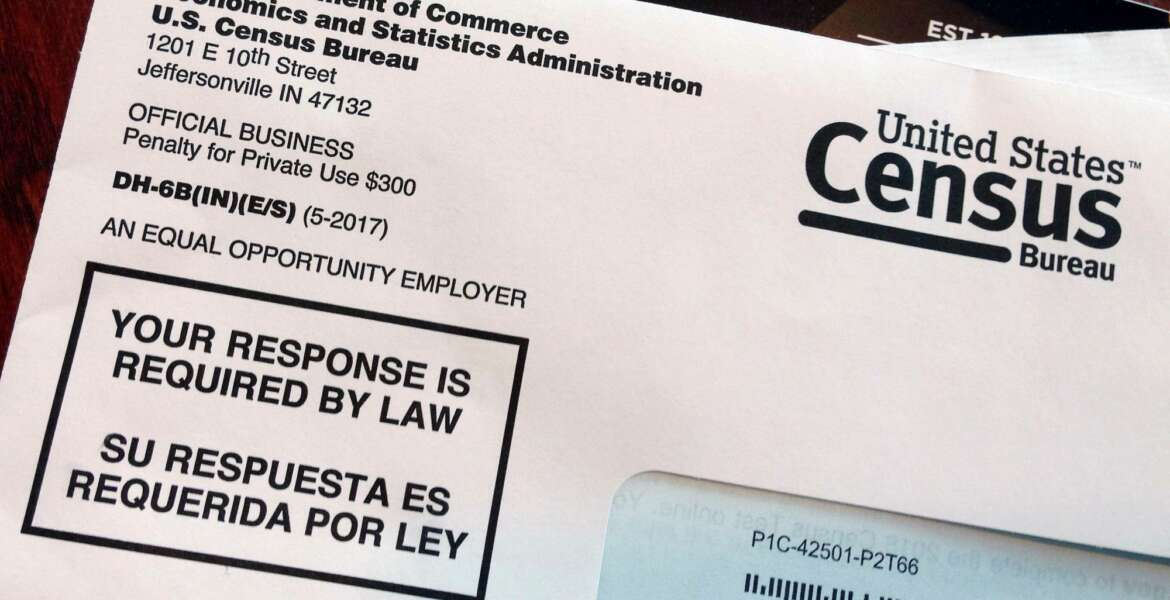 FILE - This March 23, 2018 file photo shows an envelope containing a 2018 census letter mailed to a resident in Providence, R.I., as part of the nation's only test run of the 2020 Census. A Trump administration plan to include a citizenship question on the 2020 Census has prompted legal challenges from many Democratic-led states. But not a single Republican attorney general has sued _ not even from states with large immigrant populations. (AP Photo/Michelle R. Smith)