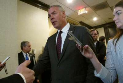 United States Interior Secretary Ryan Zinke speaks at an offshore winds energy forum Friday, April 6, 2018, in Plainsboro, New Jersey. The secretary noted there is