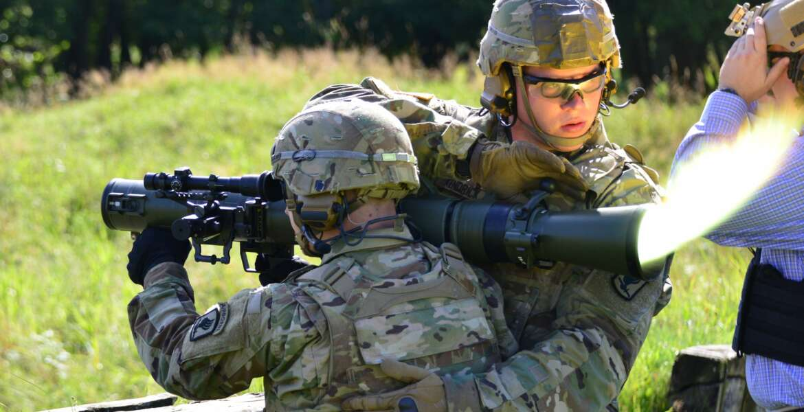 U.S. Paratroopers assigned to 173rd Airborne Brigade fires the M3 Carl Gustav rocket launcher at the 7th Army Training Command's Grafenwoehr Training Area, Germany, Aug. 18, 2016. The Carl Gustav is a lightweight, man-portable recoilless rifle. This weapon was used by the U.S. Army after World War II. The Army retired these weapons when the Dragon and TOW anti-tank guided missiles were fielded.  (U.S. Army Photo by Visual Information Specialist Gerhard Seuffert)