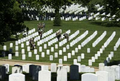 Members of the Army 3d U.S. Infantry Regiment, The Old Guard, place flags at the headstone of fallen military members during its annual Flags In ceremony at Arlington National Cemetery, May 24, 2018, in Arlington, Va. (AP Photo/Cliff Owen)