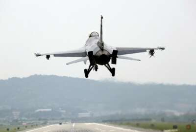 A U.S. Air Force F-16 fighter jet prepares to land as South Korea and the United States conduct the Max Thunder joint military exercise at the Osan U.S. Air Base in Pyeongtaek, South Korea, Wednesday, May 16, 2018. North Korea on Wednesday canceled a high-level meeting with South Korea and threatened to scrap a historic summit next month between President Donald Trump and North Korean leader Kim Jong Un over military exercises between Seoul and Washington that Pyongyang has long claimed are invasion rehearsals. (Kwon Joon-woo/Yonhap via AP)