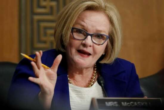 Senate Finance Committee member Sen. Claire McCaskill, D-Mo., questions Alex Azar during a Senate Finance Committee hearing on Capitol Hill in Washington, Tuesday, Jan. 9, 2018, to consider Azar's nomination to be Secretary of Health and Human Services. (AP Photo/Carolyn Kaster)