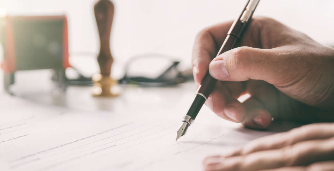 Notary signs legal contract. Businessman working in office. notary public lawyer desk attorney office law official concept