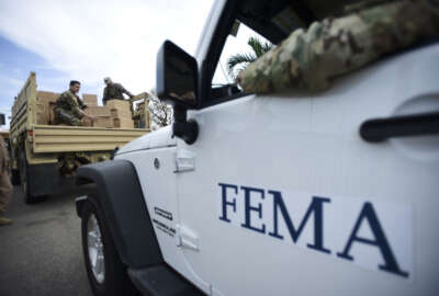 """In this Oct. 5, 2017, file photo, Department of Homeland Security personnel deliver supplies to Santa Ana community residents in the aftermath of Hurricane Maria in Guayama, Puerto Rico. Republicans and Democrats in Congress are pushing to exempt Puerto Rico from a federal law that prohibits foreign-flagged ships from shuttling goods between U.S. ports. President Donald Trump temporarily waived the Jones Act last month amid criticism that the once-obscure law hindered relief efforts to in Puerto Rico following Hurricane Maria. The 10-day waiver expired on Sunday night and was not renewed. A spokesman for the Department of Homeland Security said an extension was not needed to support relief efforts on the island, adding that there's """"an ample supply"""" of U.S.-flagged vessels to ensure cargo reaches Puerto Rico. (AP Photo/Carlos Giusti, File)"""