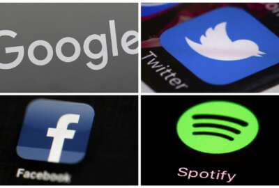 This photo combo of images shows, clockwise, from upper left: a Google sign, and apps for Twitter, Spotify and Facebook. YouTube, Facebook, Twitter, Spotify and other sites are finding themselves in a role they never wanted, as gatekeepers of discourse on their platforms,  deciding what should and shouldn't be allowed and often angering almost everyone in the process. (AP Photo)