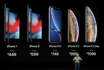 Phil Schiller, Apple's senior vice president of worldwide marketing, speaks about the new Apple iPhone XS, iPhone XS Max and the iPhone XR at the Steve Jobs Theater during an event to announce new Apple products Wednesday, Sept. 12, 2018, in Cupertino, Calif. (AP Photo/Marcio Jose Sanchez)