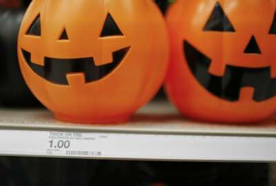 A pumpkin bucket is displayed in the Halloween section called
