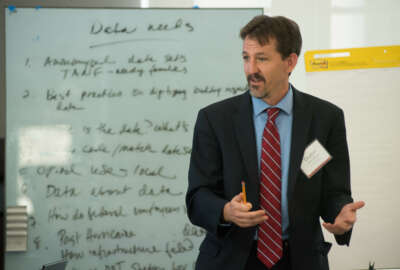 Volcker Alliance Senior Fellow Dustin Brown conducts the first of four discussions with colleges and universities as part of the organization's