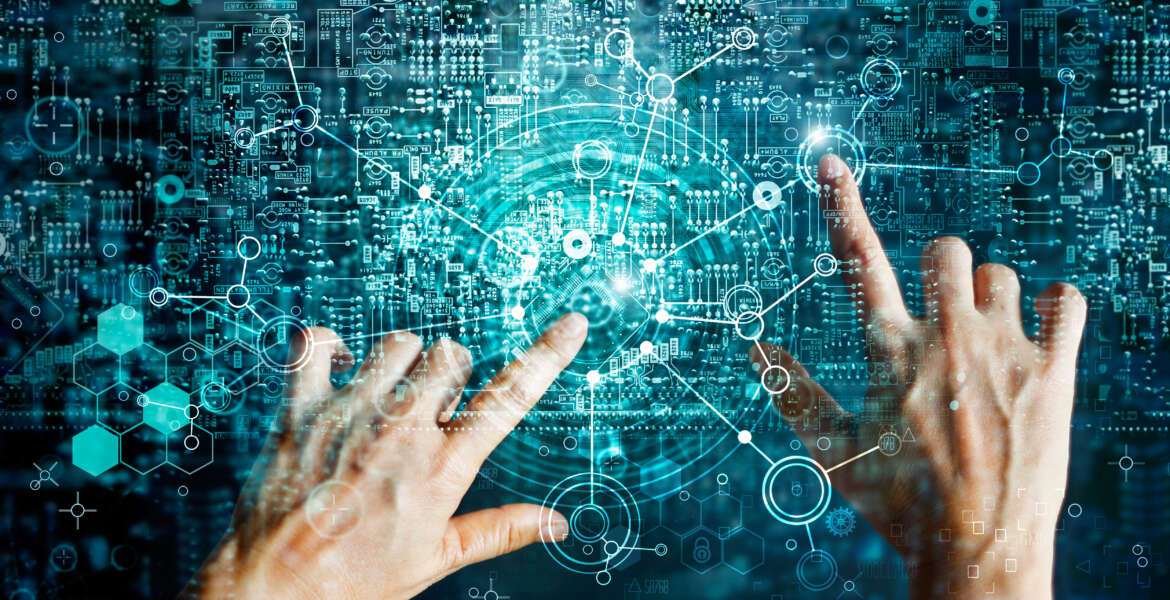 Innovations systems connecting people and intelligence devices. Futuristic technology networking and data exchanges connection and computer industry from telecommunication and internet development.